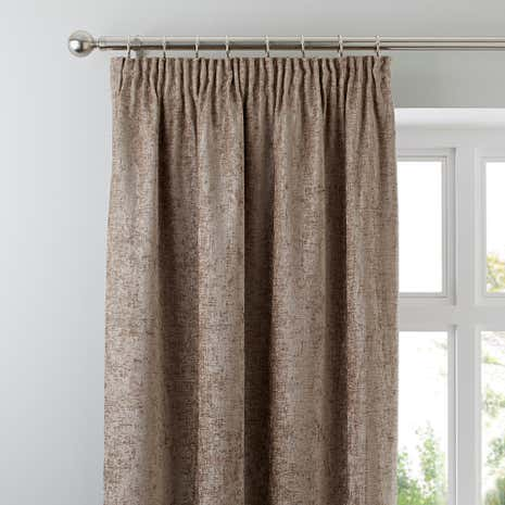 Chenille Taupe Lined Pencil Pleat Curtains