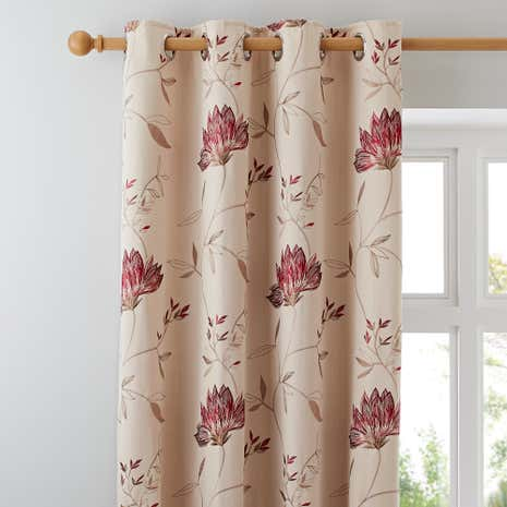 Amelia Red Lined Eyelet Curtains