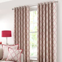 Red Trailing Petal Lined Eyelet Curtains