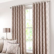 Mink Trailing Petal Lined Eyelet Curtains