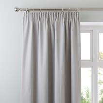 Grey Solar Blackout Pencil Pleat Curtains