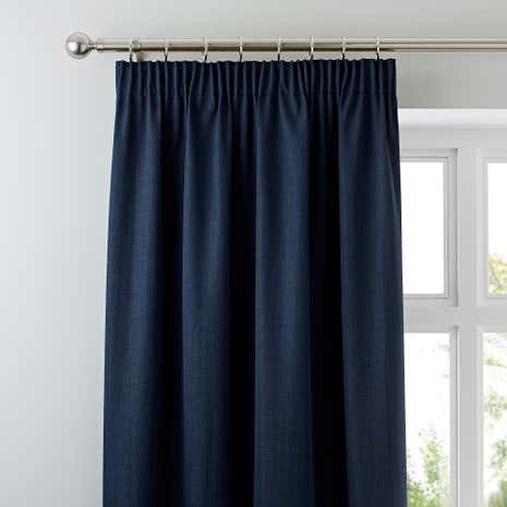 solar navy blackout pencil pleat curtains dunelm. Black Bedroom Furniture Sets. Home Design Ideas