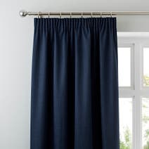 Solar Navy Blackout Pencil Pleat Curtains