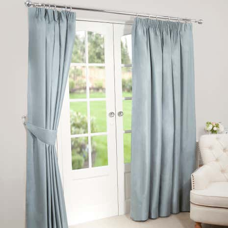 Nova Duck-Egg Blackout Pencil Pleat Curtains