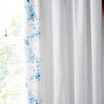 Blue Jasmin Thermal Pencil Pleat Curtains