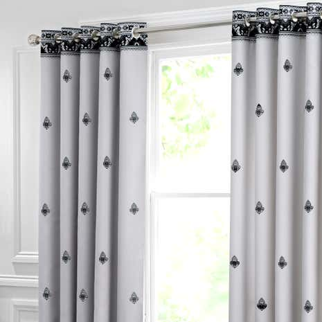Deco Flock Grey Thermal Eyelet Curtains