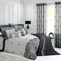 Grey Deco Flock Bedspread