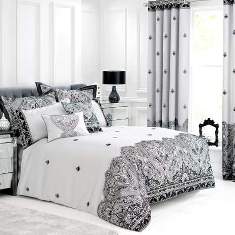 deco flock embroidered grey duvet cover dunelm. Black Bedroom Furniture Sets. Home Design Ideas