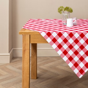 Red Gingham Check Tablecloth