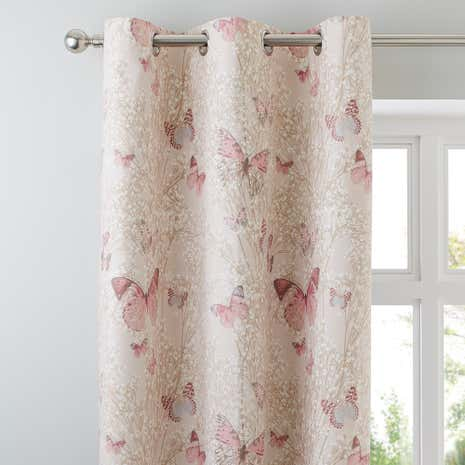 Charming Botanica Butterfly Blush Thermal Eyelet Curtains