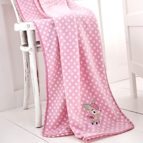 Darling Deer Pink Nursery Fleece Throw