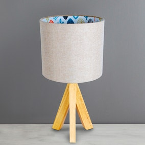 Cosy Skandi Tripod Leaf Print Table Lamp