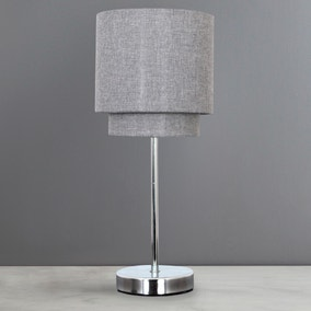 Henna 2 Tier Chrome Table Lamp