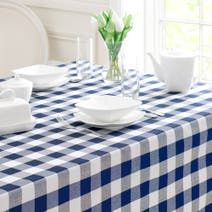 Navy Gingham Check Table Cloth
