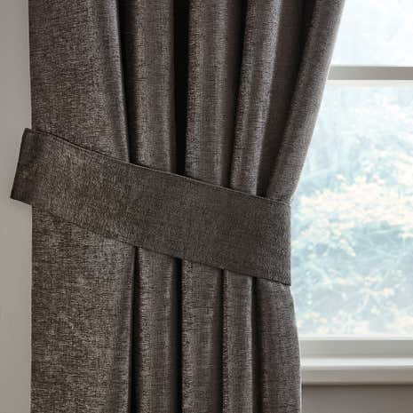 Grey Chenille Curtain Tiebacks