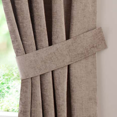 Taupe Chenille Curtain Tiebacks
