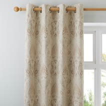 Beige Novello Lined Eyelet Curtains