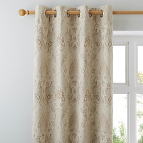 Novello Beige Lined Eyelet Curtains