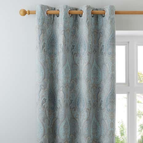 Novello Duck-Egg Lined Eyelet Curtains