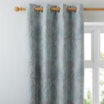 Duck Egg Novello Lined Eyelet Curtains