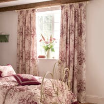 Dorma Red Willoughby Lined Pencil Pleat Curtains