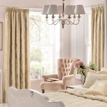 Dorma Clara Cream Lined Pencil Pleat Curtains