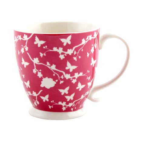 Pink Footed Floral Silhouette Mug