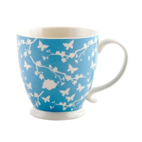 Footed Floral Silhouette Mug in Blue
