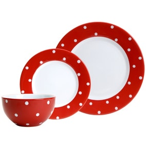 Farmstead Red Dotty 12 Piece Dinner Set