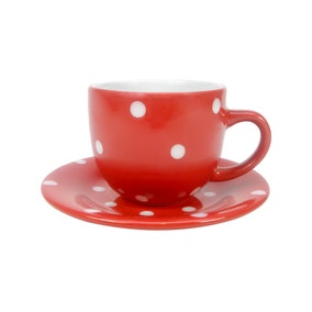 Farmstead Red Dotty Large Cup and Saucer