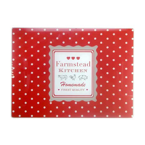 Farmstead Red Dotty Glass Worktop Saver