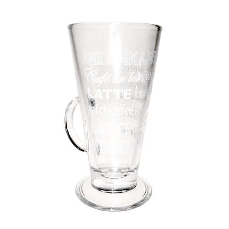 White Printed Word Design Latte Glass