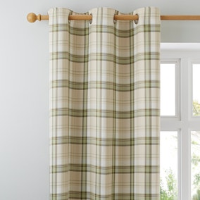 Balmoral Green Lined Eyelet Curtains