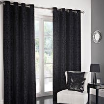 Black Manhattan Flock Lined Eyelet Curtains