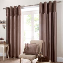 Mocha Opulence Lined Eyelet Curtains