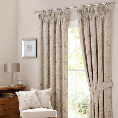 Agapanthus Natural Lined Pencil Pleat Curtains