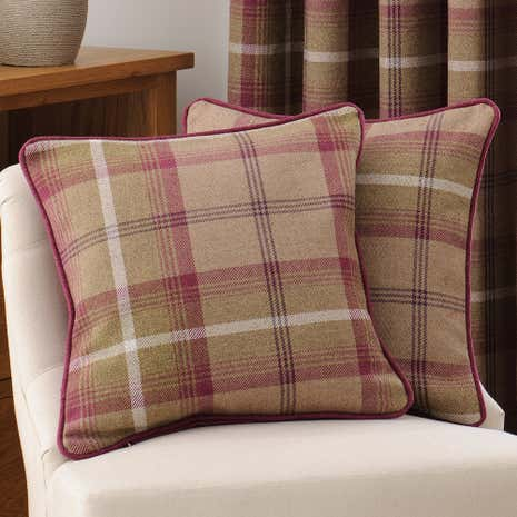 Highland Plum Check Filled Cushion