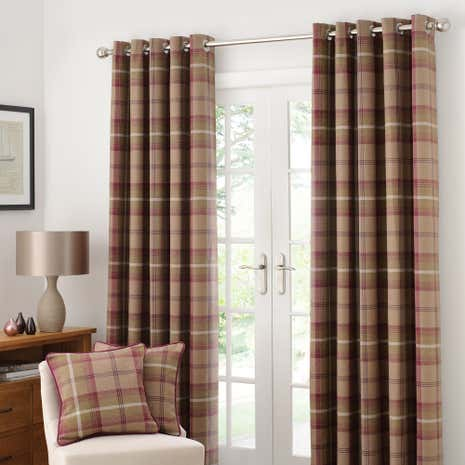 Highland Check Plum Lined Eyelet Curtains