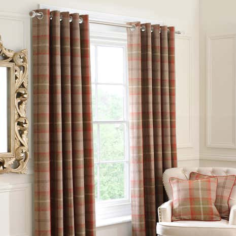 Highland Rust Lined Eyelet Curtains