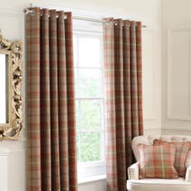 Rust Highland Lined Eyelet Curtains