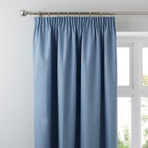 Solar Chambray Blackout Pencil Pleat Curtains