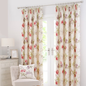 Tulip Red Lined Pencil Pleat Curtains