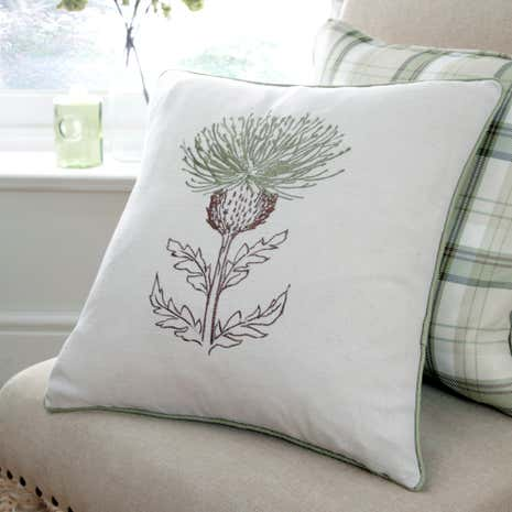 Balmoral Green Thistle Cushion