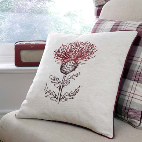 Balmoral Red Thistle Cushion