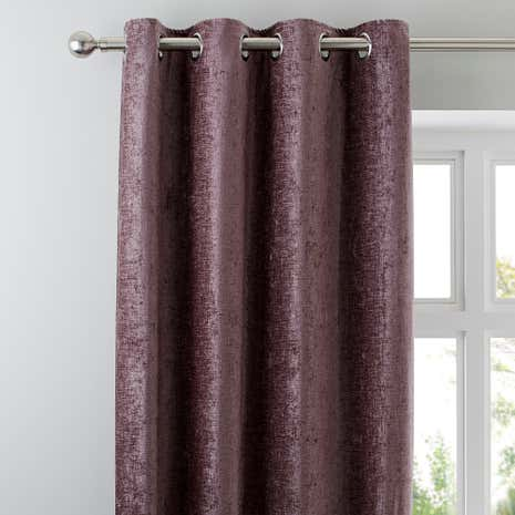 Chenille Mauve Lined Eyelet Curtains