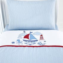 Kids Nautical Nursery Cot Bed Duvet Cover Set