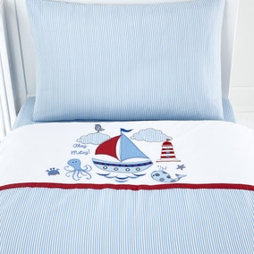 Kids Nautical Nursery Cot Bed Duvet Cover and Pillowcase Set