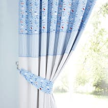 Nautical Nursery Blue Blackout Pencil Pleat Curtains