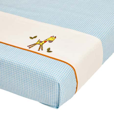 Sweet Safari Nursery Blue Flat and Fitted Sheet Set