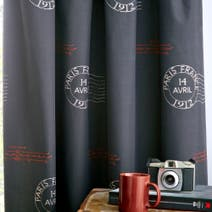 Charcoal La Tour Eiffel Thermal Eyelet Curtains